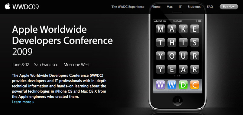 Apple WWDC: June 8 – 12 2009