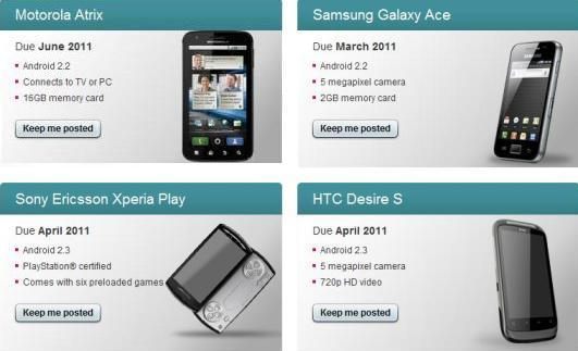 UK Dates for Desire S, Xperia Play, Atrix and Ace ...