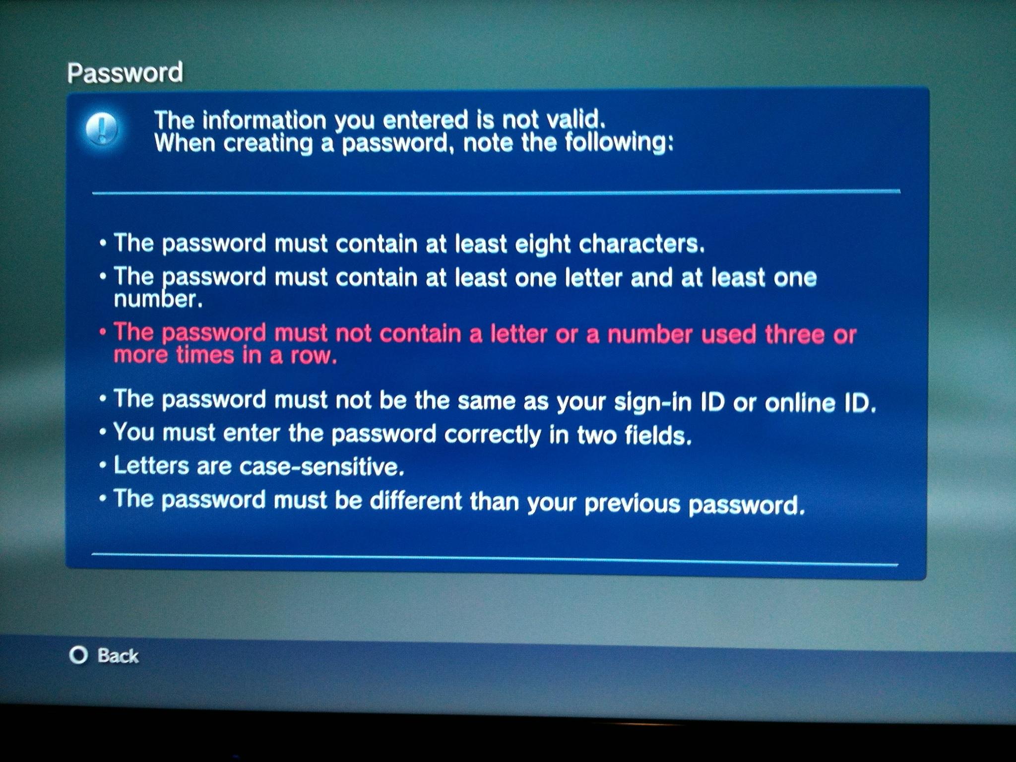 sony password change