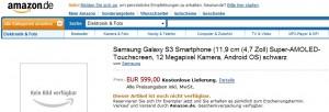 Samsung Galaxy S III Amazon Germany