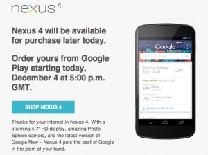 google nexus 4 back in stock