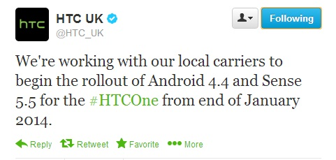HTC One to officially taste KitKat in January