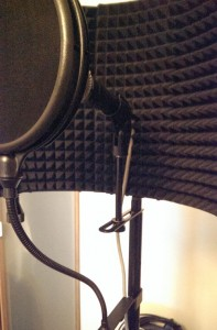 vocal booth interior with mic