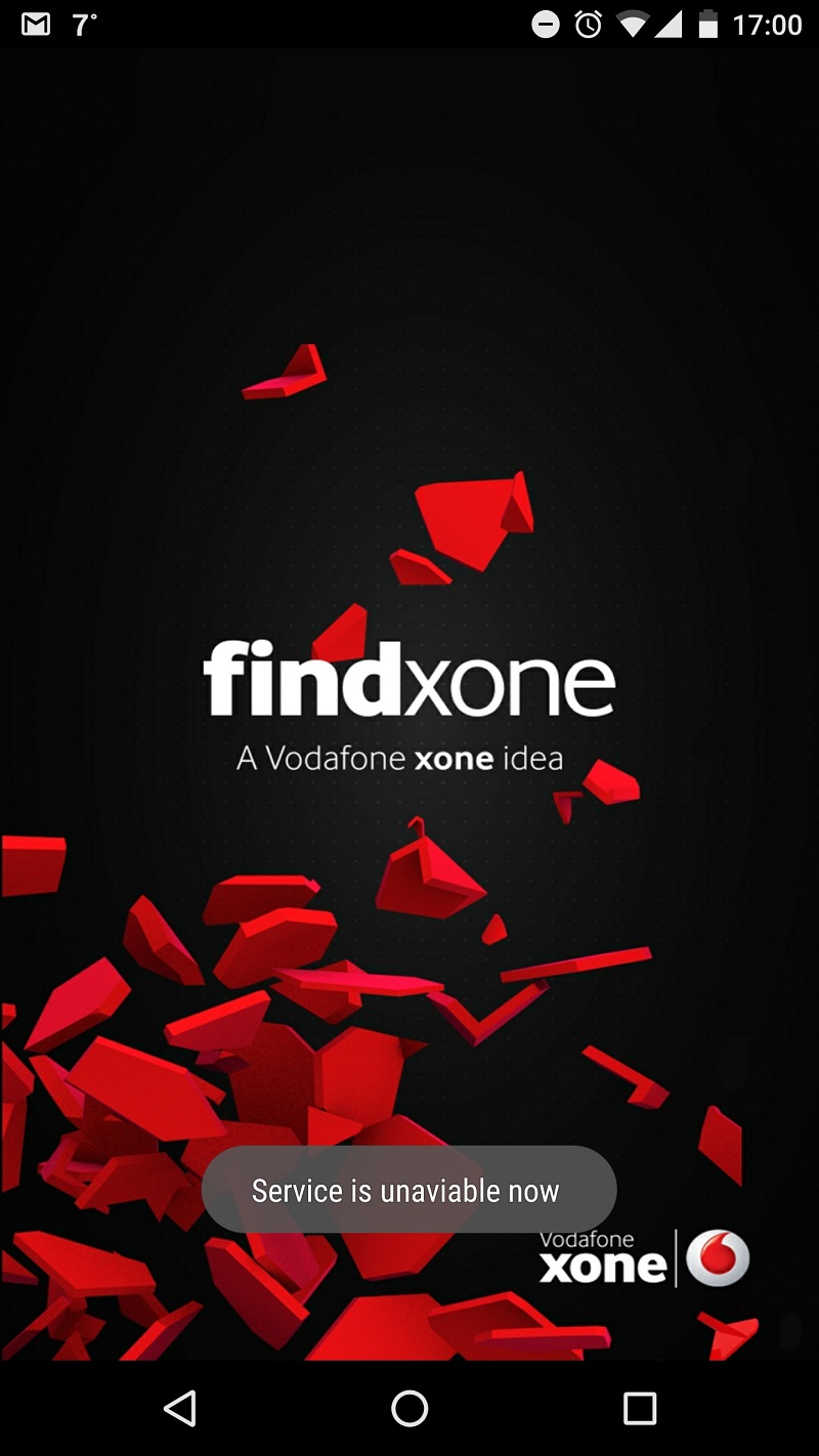Findxone tracker error message