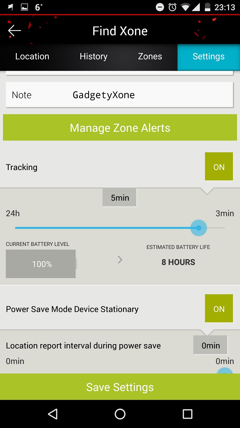 Findxone tracker zone alerts