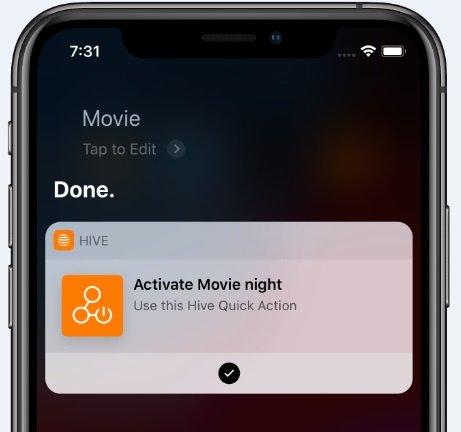 Hive Quick Actions via Siri